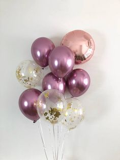 NEW Chrome Mauve Balloons Rose Gold Balloons Gold Confetti