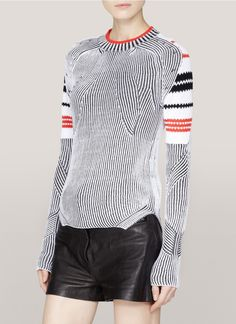 ALEXANDER WANG - Ribbed contrast-knit sweater | Multi-colour Long Sleeve Knitwear | Womenswear | Lane Crawford - Shop Designer Brands Online