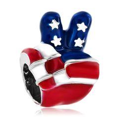 Usa Patriotic Flag Victory Hand Sign Language Beads Charms Bracelets Pandora Chamilia Compatible | Charmsstory.com #usa #flag #victory #charms #pandora