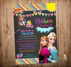 Frozen Pool Party Invitation Disney Frozen Pool by CutePartyFairy