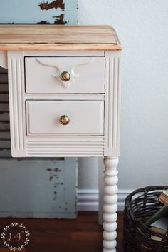 """This desk gets a great farmhouse look using Fusion's """"PUTTY"""". See the Step by Step! Fusion Mineral Paint Color Month Farmhouse Style Desk Makeover"""