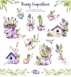"""""""Spring Time"""" watercolor collection by Anastezia Luneva on Creative Market """"Spring Time"""" watercolor Botanical Illustration, Watercolor Illustration, Watercolor Paintings, Floral Watercolor, Graphic Illustration, Printable Poster, Printable Stickers, Poster Design Software, Visual Design"""