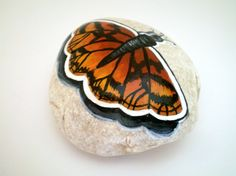 Monarch  Butterfly Painted Rock