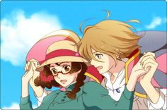 Tsukimi and Kuranosuke from Princess Jellyfish as Sophie and Howl. This fits their characters so well!