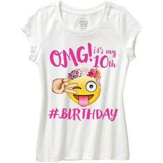 Girls Emoji Shirt Omg Its My Birthday 9th Parties 13th