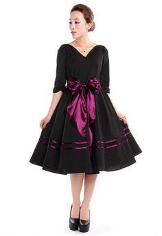 Chic Star 1950s V Neck Sash Dress