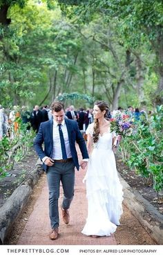 See how a this beautiful couple showcased their personalities in this informal and fun-filled forest wedding. Boho Bride, Boho Wedding Dress, Wedding Attire, Bohemian Bridesmaid, Bohemian Weddings, Bridesmaid Dress, Wedding Gowns, Wedding Couples, Wedding Bride