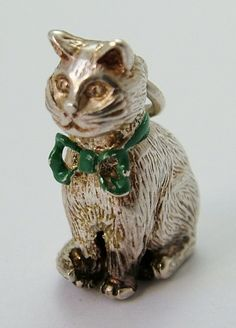 1970's Silver Sitting Cat Charm with Green Enamel Bow HM 1979