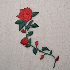 Large Red Rose flower head Rose Iron on Patch sew on transfer fancy dress Love