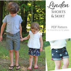 The Linden Shorts & Skirt Pattern is loaded with options perfect for both boys and girls. There are two short lengths; long is designed to hit at the knee, while the short version hits just above mid thigh. The pattern also comes with a skirt option that hits just above the knee. All versions come with multiple hem finishes, three front pocket and four back pocket options, an optional back yoke, and three waistband choices. You can create so many different looks with just one pattern!