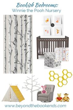 A modern, gender neutral Winnie the Pooh Nursery. The perfect bedroom for your little one. More nursery ideas on the blog.