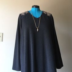 """Jeweled Top Basic V neck with gorgeous shoulder designs not too heavy, can transition into Spring a bit longer on the sides to give a slimmer appeal •pit to pit measures 47"""", length is 31"""" in the front and 32"""" in the back, sleeves are 26"""" long Cable & Gauge Tops Tunics"""