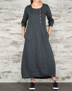 Long and loose Linen Dress made in N. Europe dark GRAY