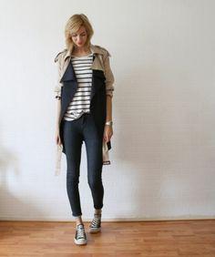 jacket + tee + chucks.