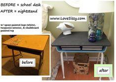 Ways to use old school desks & school desk legs www.LoveSissy.com