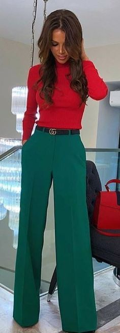 #spring #outfits woman wearing red long-sleeved shirt and green pants. Pic by @fashion4perfection