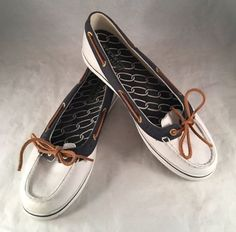 20.53$  Watch now - http://viltt.justgood.pw/vig/item.php?t=xo4a0ec4794 - Womens Sperry Top-Sider SZ 9M 9688722 white navy blue Boat DECK Shoes