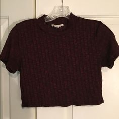 Ribbed Crop Top Maroon ribbed crop top from Forever 21. In good condition except for a small hold at the collar, but it is not noticeable and can be easily fixed. Size medium. Forever 21 Tops Crop Tops