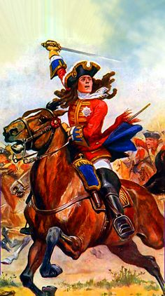 Duke of Marlborough leading the charge of the British heavy dragoons at the Battle of Malplaquet, War of the Spanish Succession