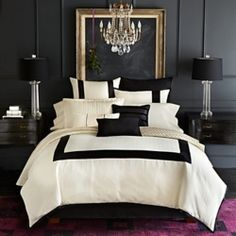 Black and white bedroom/Empty frame headboard /Classic Casa's