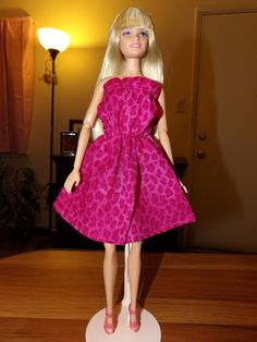 Teal Black Pink Cheetah Stretch Print Halter Dress Made on Skirt Barbie