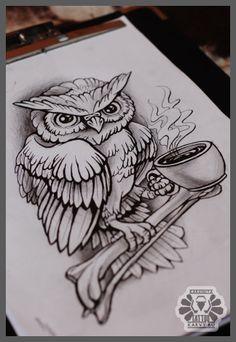 owl with tea and bone by Karviniya on deviantART