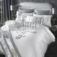 Turn your bedroom into a centre piece with the By Caprice Valeria Duvet Cover. This duvet cover features sequin floral design giving your room a very elegant and glamorous feel. Silver Bedroom, Glam Bedroom, Bedroom Decor, Christmas Bedding, Luxury Bedding Sets, Bed Duvet Covers, Bed Sets, Beautiful Bedrooms, Beautiful Beds