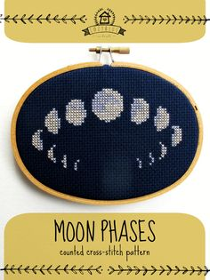 moon phases ... a cozyblue cross stitch pattern simple, powerful, and lovely, the moon cycle is depicted in this beautiful little design. the