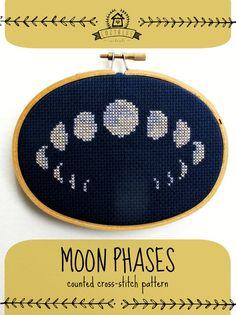 modèle de point de croix de phases lune par cozyblue sur Etsy