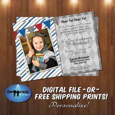 Knight Birthday Party Invite #3 -- Custom Invitations -- Digital File OR Free Shipping Physical Prints by SmoochalDesigns on Etsy
