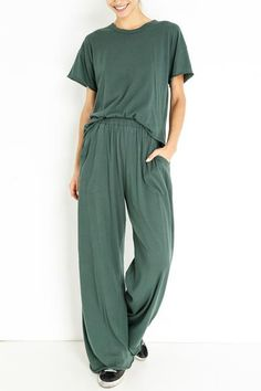 Cotton Color: Alpine Elastic waistband Side slant pockets Raw hem Model is and wears a size Wide Leg Pants, Jumpsuit, Legs, The Originals, Boudoir, Casual, Model, Cotton, How To Wear