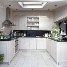 U Shaped Small Kitchen Design small kitchen design white u shaped kitchen black countertops wood