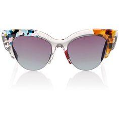 Fendi Women's Semi-Rimless Cat-Eye Sunglasses ($480) ❤ liked on Polyvore featuring accessories, eyewear, sunglasses, multi, acetate sunglasses, gradient lens sunglasses, clear cat eye glasses, clear glasses and colorful sunglasses