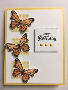 Beautiful Birthday Cards, Birthday Cards For Women, Happy Birthday Cards, Butterfly Cards Handmade, Butterfly Birthday Cards, Handmade Stamps, Greeting Cards Handmade, Ballon Party, Diy Halloween Dekoration
