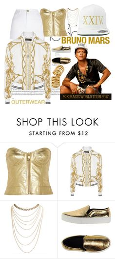 """outerwear inspired by Bruno Mars #24k"" by elles265 ❤ liked on Polyvore featuring Boutique Moschino, River Island, Versace, Wet Seal, CÉLINE and Pamela Love"