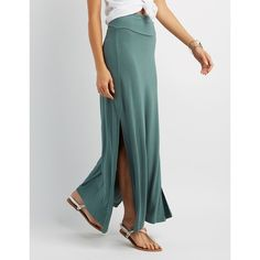 Charlotte Russe Double Side Slit Maxi Skirt ($17) ❤ liked on Polyvore featuring skirts, green, green slip, fold over skirt, long skirt slip, green maxi skirt and green skirt