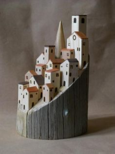 By Rocche-Borghi-Trottole love the composition - the single tower and the terracotta roofs Clay Houses, Ceramic Houses, Miniature Houses, Wooden Houses, Art Houses, Village Houses, Home Crafts, Diy And Crafts, Arts And Crafts