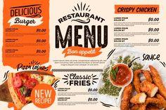 Plantillas Menu Restaurante GRATIS - Lettering Time Cafe Menu, Menu Restaurant, Vegan Burger Restaurant, Bbq Menu, Restaurant Menu Template, Vegan Restaurants, Modern Restaurant, Food Menu Design, Food Poster Design
