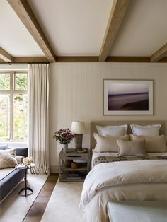 calm cream tones in this master bedroom   traditional pacific northwest house tour on coco kelley