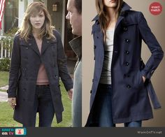 Paige's navy trench coat on Scorpion.  Outfit Details: http://wornontv.net/44266/ #Scorpion