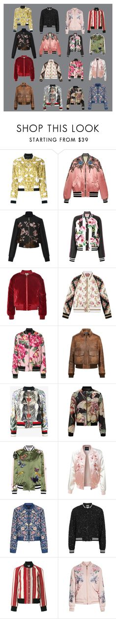 """""""Top 16 Bomber Jackets For Spring 2018"""" by ladyminafashion on Polyvore featuring Versace, Gucci, Elie Saab, Dolce&Gabbana, Polo Ralph Lauren, Miss Selfridge, Valentino, LE3NO, Needle & Thread and Alice + Olivia"""