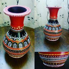 #handpainted #earthenpot #artwork #loveart #decorative art Mandala Painting, Dot Painting, Ceramic Painting, Pottery Painting Designs, Paint Designs, Bottle Painting, Bottle Art, Turquoise Painted Furniture, Diwali Diy