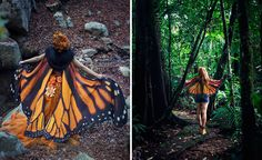 Spanish costume designer Alassie, of El Costurero Real, has designed light muslin scarves with beautiful, realistic, butterfly wing prints.