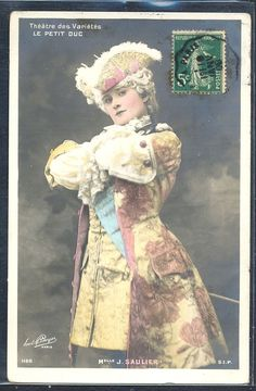 QK116 ARTIST STAGE STAR Melle SAULIER COSTUME FEATHER HAT Tinted PHOTO pc BOYER