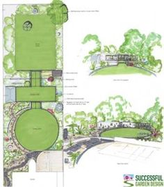 Long modern garden with variety of strongly shaped lawn 'rooms'.