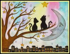 Süße Sterne in der Stadt, nette romantische Katzen auf einem Baum, dem skurrilen…