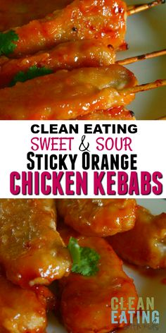 Clean Eating Sweet and Sour Orange Chicken Kebabs (A healthy version of the one from your favourite Chinese Takeaway). Asian Recipes, Real Food Recipes, Chicken Recipes, Healthy Recipes, Orange Recipes, Cooking Recipes, Clean Eating Kids, Clean Eating Recipes, Healthy Eating