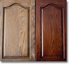 Restaining Cabinets For Kitchen Oak Cabinets Before And After - maybe just a tish darker. but this color is nice. Restaining Kitchen Cabinets, Stained Kitchen Cabinets, Painting Kitchen Cabinets, Kitchen Paint, How To Restain Cabinets, Kitchen Cupboards, Kitchen Countertops, Kitchen Island, Honey Oak Cabinets