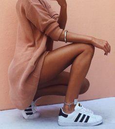 oversized sweatshirts + adidas superstars | @andwhatelse