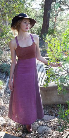 Vintage cotton, raw silk and corduroy in beautiful faded violet. Everyday dress with violet straps and sexy criss cross open back. Top is vintage corduroy and b
